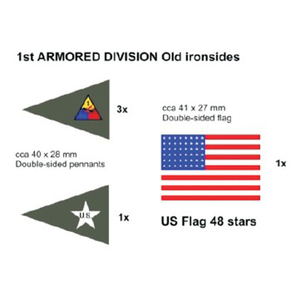 USA Fahnenset 1st Armored Division, 5 Stück in 1/16