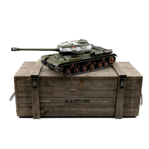 Taigen IS-2, version green, metal edition 1:16 with gun recoil system, Xenon flash, IR battle unit, V3 board and transport wooden box