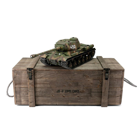 Taigen IS-2, version camouflage, metal edition 1:16 with gun recoil system, Xenon flash, IR battle unit, V3 board and transport wooden box