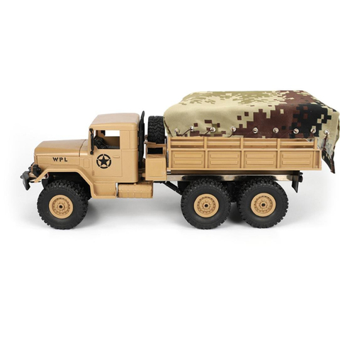 WPL - Truck tarpaulin (beige/brown) with lashing rope and linkage in 1/16