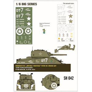 Sherman M4 Double-Trouble with M1 Dozer kit, paint mask...