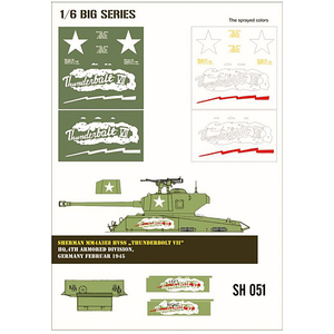 Sherman MM4A3E8 HVSS Thunderbolt VII paint mask in 1/6