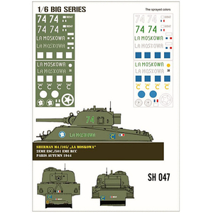 Sherman M4/105 La Moskowa paint mask in 1/6